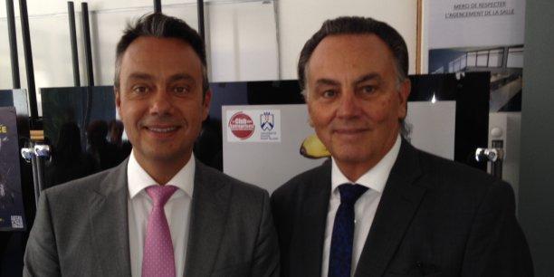 Olivier Salaun (à gauche) aux cotés de Claude Deffaugt prend la présidence du Club des entreprises de l'USMB.