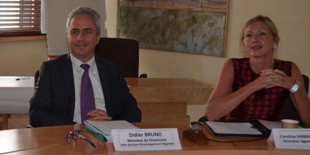 Didier Bruno, membre du directoire du Pôle Banque Développement Régional de la CERA et Caroline Hanriot Sauveur, directrice de la nouvelle agence Innovation.