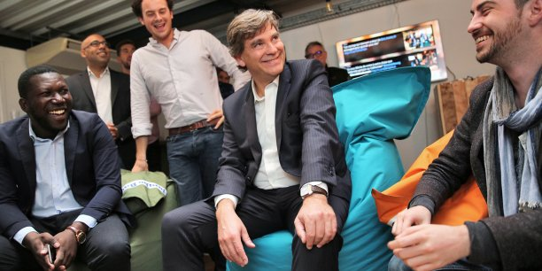 Arnaud Montebourg ce matin chez At Home avec les startuppers