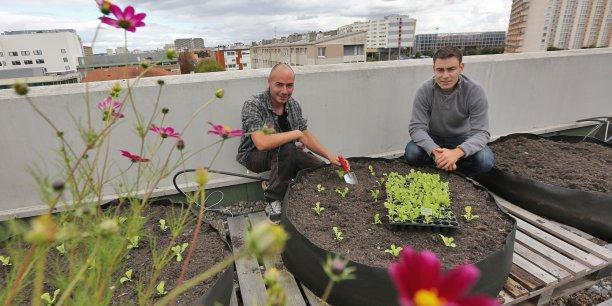 Cédric Jules et Alexandre Belin sur le toit de la Clinique Pasteur
