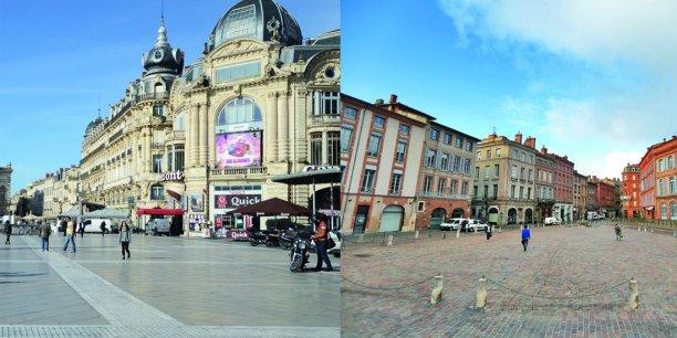 Place de la Comédie à Montpellier / place Saint-Étienne à Toulouse