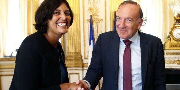 La ministre du Travail Myriam El Khomri (ici avec Pierre Gattaz, président du Medef, avant une réunion, le 9 septembre dernier),a remis ses premières pistes pour réformer le Code du travail qui va être entièrement réécrit.
