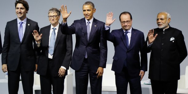 Justin Trudeau, Bill Gates, Barack Obama, François Hollande et le premier ministre indien Narendra Modi au Bourget, lundi 30 novembre