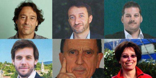 De gauche à droite et de haut en bas : Christophe Cavard, Gilles Fabre, Yvan Hirimiris, Damien Lempereur, Jean-Claude Martinez et Sandra Torremocha.