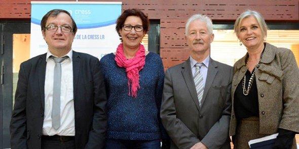Les représentants des CRESS régionales se sont rencontrés à Montpellier le 1er décembre 2015 : Jean-Claude Rousson, vice-président de la CRESS-LR et Président de la Mutualité Française ; Linda Adria, trésorière de la CRESS-LR et présidente du CRAJEP LR ; Olivier Hammel, président de la CRESS-LR ; Marielle GIRERD, administratrice de la CRESS-LR