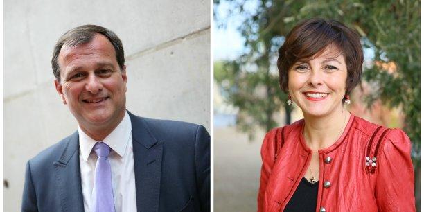 Louis Aliot (FN) et Carole Delga (PS).