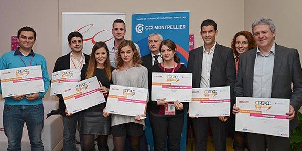Les lauréats de l'édition 2015 du concours Cré'Acc, organisé par les experts-comptables et la CCI Languedoc-Roussillon.