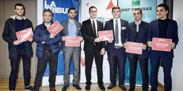 Les six lauréats de la région Centre-Est du Prix La Tribune du Jeune entrepreneur BNP Paribas.