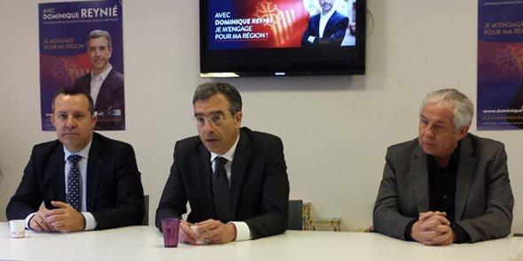 Dominique Reynié, entouré de 2 de ses co-listiers dans l'Hérault: Stéphan Rossignol (maire de La Grande Motte) et Félix Alary