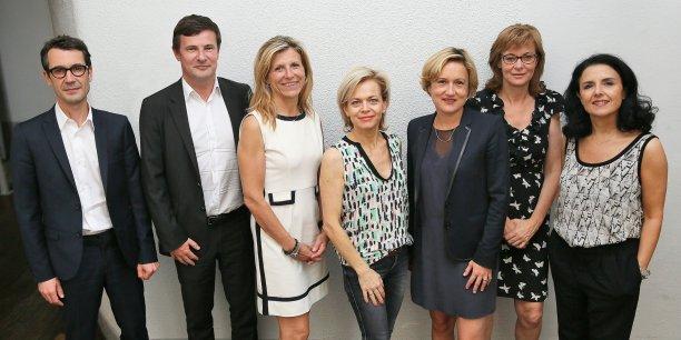 Dominique Pon, Blaise Jaegger, Valérie Jimenez, Carole Garcia et Cendrine Martinez sont mentor. Elisabeth Gallaup (2e en partant de la droite) représente Bernard Keller et Emmanuelle Durand Ridriguez (au centre) est directrice de la rédction d'objectifNews.