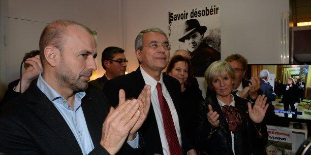 Jean-François Debat, Jean-Jack Queyranne et Véronique Trillet-Lenoir dimanche au QG de campagne à Lyon