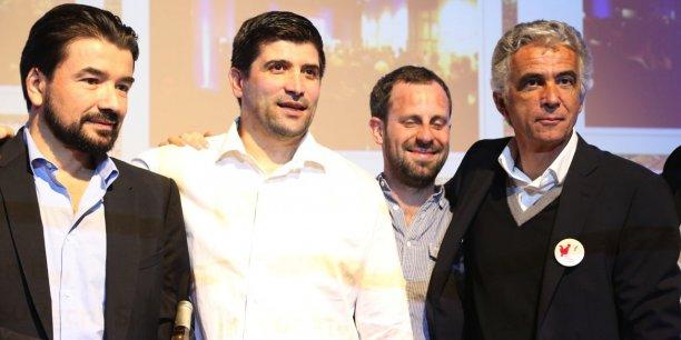 Jean-Pierre Rivère, le président de l'OGC Nice, entouré des patrons de l'association Nice Start(s) Up.