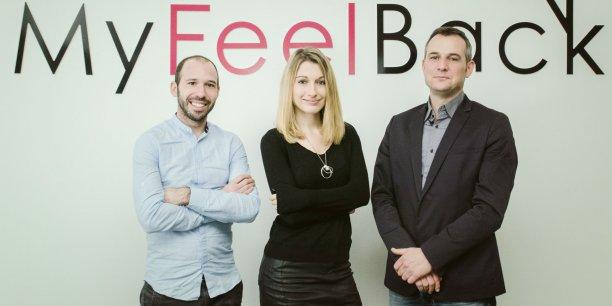 Julien Hourrègue, Aurore Beugniez et Stéphane Contrepois les trois cofondateurs de MyFeelBack