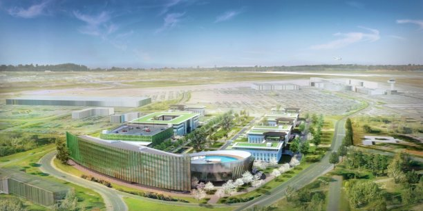 Cette vue d'artiste montre le programme 45e Parallèle au premier plan devant l'aéroport