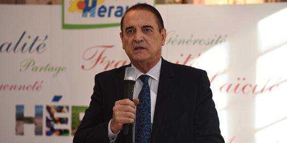 Kléber Mesquida, président du Conseil départemental de l'Hérault, lors des voeux à la presse en janvier 2016.
