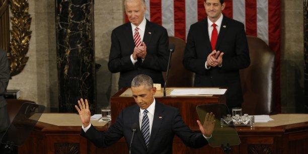 Barack Obamaa notamment exhortéses concitoyensà ne pas céder à la panique, face aux turbulences économiques comme à la menace du groupe Etat islamique qu'il a appelé à ne pas surestimer.