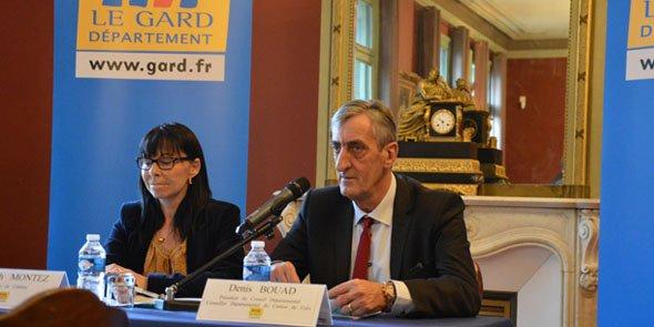 Denis Bouad, président du conseil départemental du Gard en compagnie d'Elisabeth Montez sa directrice de cabinet