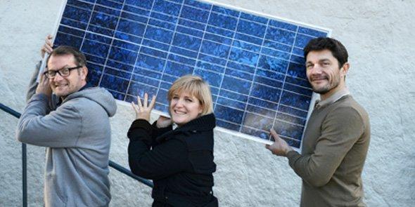 Olivier Griffon (directeur communication), Pauline Georgel (directrice relation clients) et Julien Hostache, directeur général d'Enerfip.