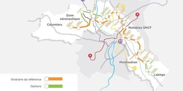 Tracé de la 3e ligne présenté le 18 décembre en comité syndical Tisseo.