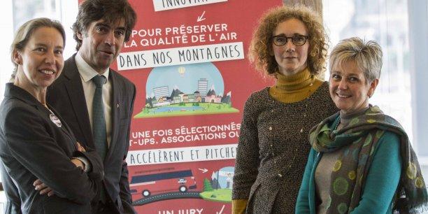 Aline Morancho, Eric Fournier, Christine Colon et Anne Théron lors du lancement de l'appel à projets MO2-Montagne et mobilités