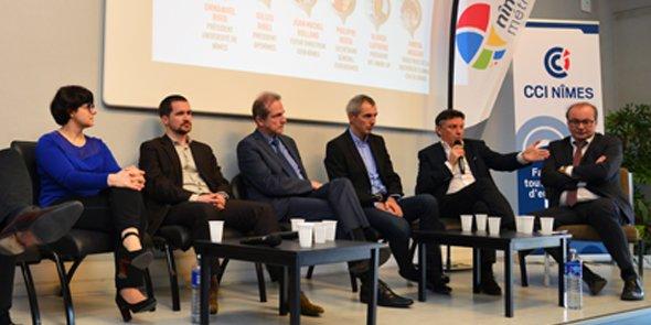 Anissa Megzari (CHU), Nicolas Leroy (Université), Jean-Michel Rolland (ISEN), Gilles Ridel (Openîmes), Philippe Berta (Eurobiomed) et Olivier Lapierre (BIC Innov'Up).