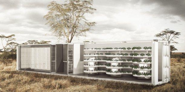 Unité de production autonome et transportable, l'Entomo box a une capacité de production de 5 tonnes/an sur une surface de 28 m2.