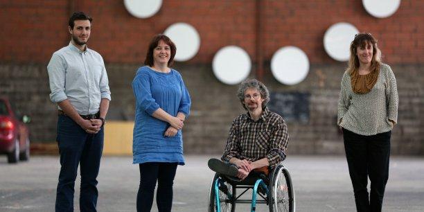 Adrien Gauthier (Artilect), Laurence Cloutier et Pierre Dufour (Scool) et Julie Jodet (Imaginations fertiles) porteurs du projet de maintien à domicile des personnes âgées.