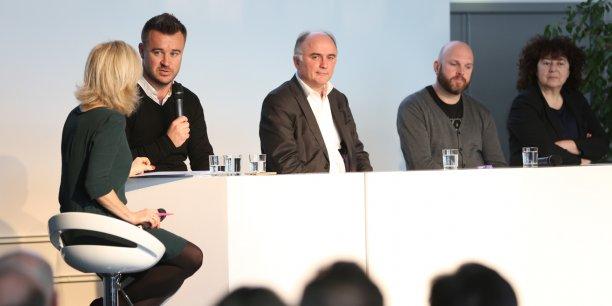 Philippe Gelis, Alain Clot, Eric Charpentier et Joëlle Durieux, lors de la table ronde animée par Emmanuelle-Durand Rodriguez (La Tribune Toulouse)