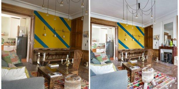 La photo d'un appartement avant et après traitement avec le logiciel développé par Meero
