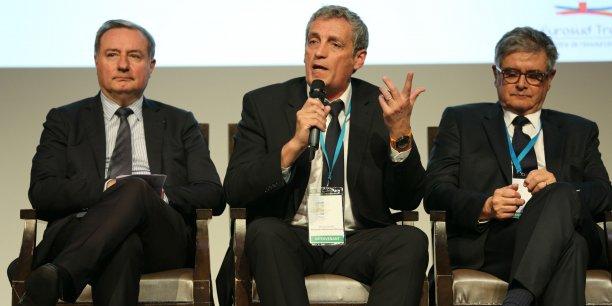 Jean-Luc Moudenc (Toulouse Métropole), Philippe Saurel (Montpellier Métropole) et Georges Méric (Conseil départemental de Haute-Garonne) au colloque organisé ce jeudi 31 mars par EuroSud Transport/