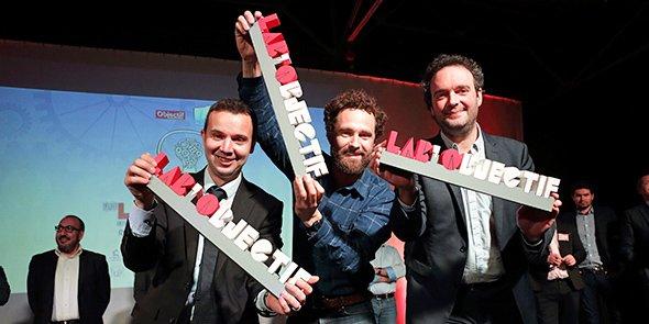 Les trois gagnants du Lab'Objectif du 31 mars 2016 : Frédéric Salles (Matooma), Raphaël Girardin (Matahi Compagny) et Dimitri Moulins (Plussh).