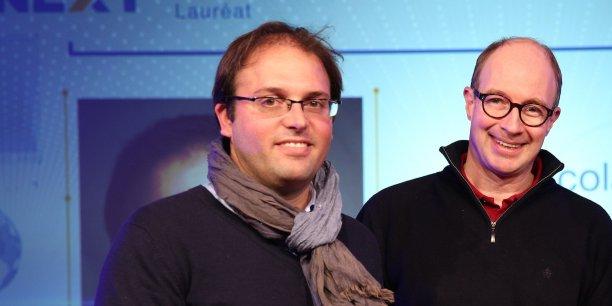 Nicolas Cristi et André Macq, les deux fondateurs de Sunibrain, récompensés lors de la soirée Biznext