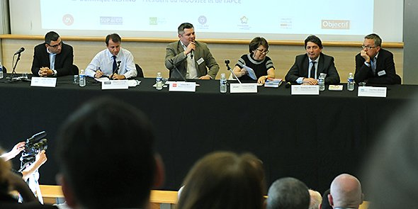 Table-ronde de clôture : J. Benabdillah (Leader LRMP), T. Lanxade (Medef), A. Rey (Objectif LR), C. Lepage (Cap21), D. Restino (Moovjee) et J-P. Boissin (Pépite)