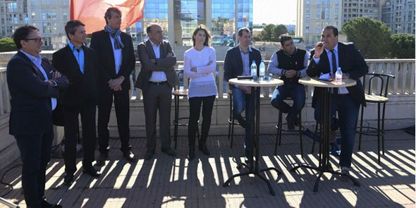 Les membres et parrains du club économique de LR SET, lors de son lancement à Montpellier en 2016