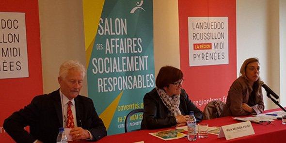 Olivier Hammel, Marie Meunier-polge et Muriel Nivert-Boudou, lors dela conférence de presse de présentation de la 6e éditions de Coventis, à Montpellier.