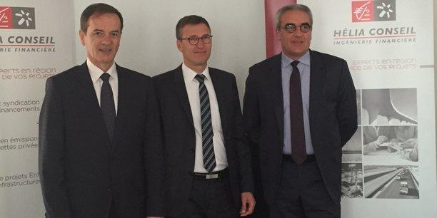Jean-François Paillissé, président du directoire de la CEAPC, Christophe Jaglin, président d'Hélia Conseil, Patrick Dufour, membre du Directoire de la CEAPC en charge de la Banque de développement régional