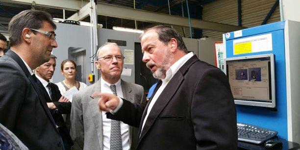 Le directeur de Cauquil Marc Alaux, le préfet de la région LRMP Pascal Mailhos et le PDG de la société Didier Cauquil