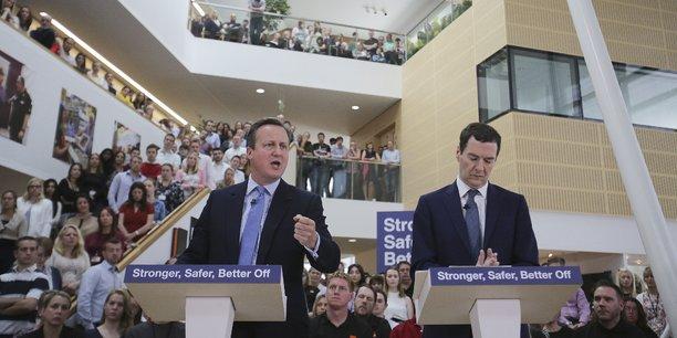 Le Premier ministre britannique David Cameron et son Chancellier George Osborne ont prévenu que le Brexit aurait un fort impact sur les finances des ménages si le Royaume-Uni quittait l'UE, dans un discours à Chandler's Ford, lundi 23 mai.