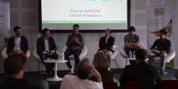De gauche à droite : Clément Soulier (Entomo farm), David Joulin (Ekylibre), Florian Breton (Miimosa), Jean-Michel Lamothe (votremachine), Pierre-Antoine Foreau (comparateuragricole) et Nicolas Daüy (Cap 2020 et inventeur du piège Captrap)