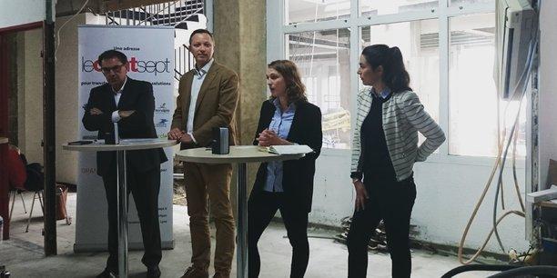 De gauche à droite : David Kimelfeld, Philippe Imbert, Mathilde Aglietta et Léna Geitner.