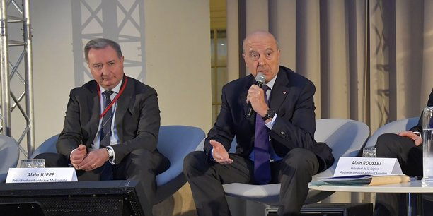 Jean-Luc Moudenc et Alain Juppé lors de la Conférence économique des métropoles à Bordeaux