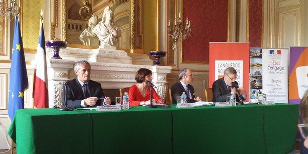 De gauche à droite : P. Saurel (M3M), C. Delga (Région), P. Mailhos (Préfet de région) et P. Pouëssel (Préfet de l'Hérault)