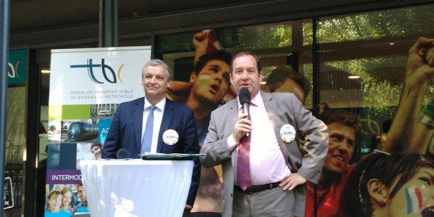 Hervé Lefèvre (Keolis Bordeaux Métropole) et Christophe Duprat (Bordeaux Métropole)