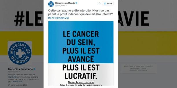 La campagne choc de Médecins du Monde n'est pas sans rappeler celle lancée par la Ligue contre le cancer, fin avril, fustigeant le prix des nouveaux anticancéreux.