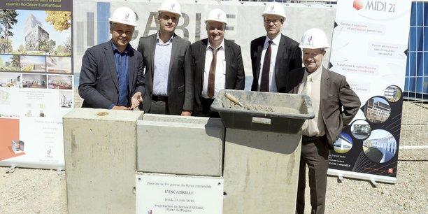 Pose de la première pierre, ce jeudi 23 juin à Blagnac, de l'immeuble Escadrille