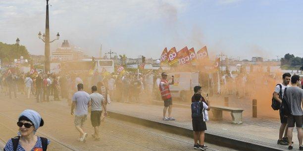 La CFE-CGC n'a pas voulu combattre la loi El Khomri dans la rue (comme ici sur les quais de Bordeaux) car elle ne la rejetait pas en bloc tout en s'opposant à certaines dispositions.