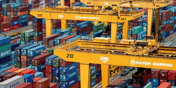 Le terminal de containers de la compagnie Hanjin Shipping du nouveau port de Busan, situé à 420 km au sud-est de Séoul.
