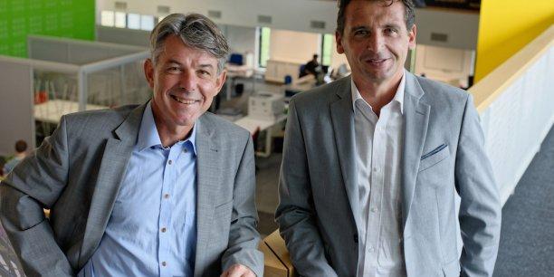 Bruno Lagadec, directeur général de Divalto (à gauche) et Thierry Meynlé, président de Divalto (à droite). Photo © Olivier Mirguet