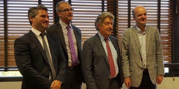 Le 28 septembre à la CCIR LR : Fabrice Geffroy (IME France), François-Xavier Jeanteur (ACDC Entreprises), Bernard Fourcade (CCIR LR) et Jean Guizard (Megavins).