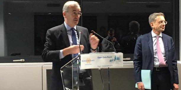 François Villeroy de Galhau, le gouverneur de la Banque de France, et Jacques Fournier, le directeur général de la statistique de l'institution, jeudi soir, à l'inauguration de l'Open Data Room.